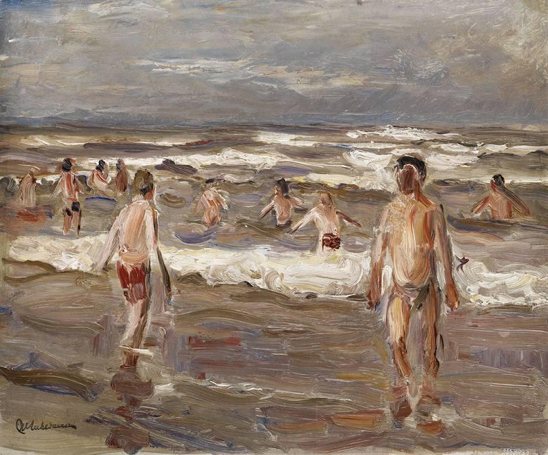 【送料無料】絵画 油彩画複製油絵複製画/ マックス・リーバーマン 海水浴の少年 F8サイズ F8号 455x380mm すぐに飾れる豪華額縁付きキャンバス