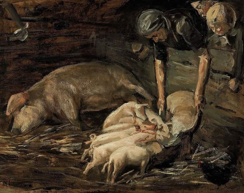 【送料無料】絵画 油彩画複製油絵複製画/ マックス・リーバーマン 豚の世話 F8サイズ F8号 455x380mm すぐに飾れる豪華額縁付きキャンバス