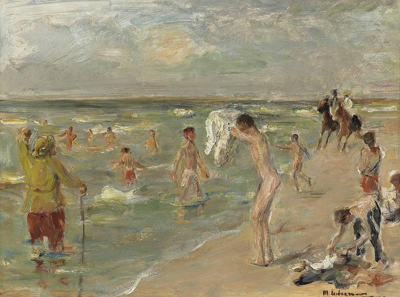 油絵 油彩画 絵画 複製画 マックス・リーバーマン 海水浴の少年 P10サイズ P10号 530x410mm すぐに飾れる豪華額縁付きキャンバス