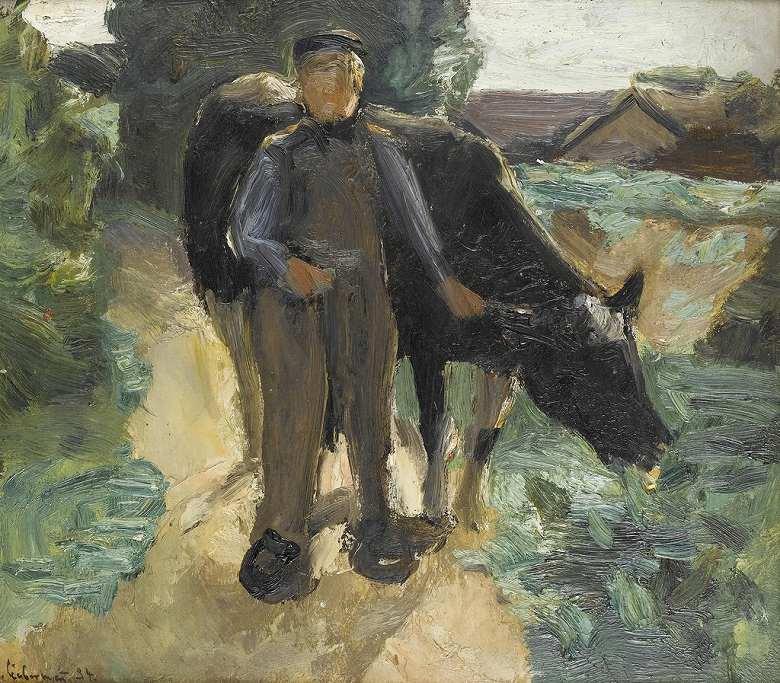 油絵 油彩画 絵画 複製画 マックス・リーバーマン 農民と牛 F10サイズ F10号 530x455mm すぐに飾れる豪華額縁付きキャンバス