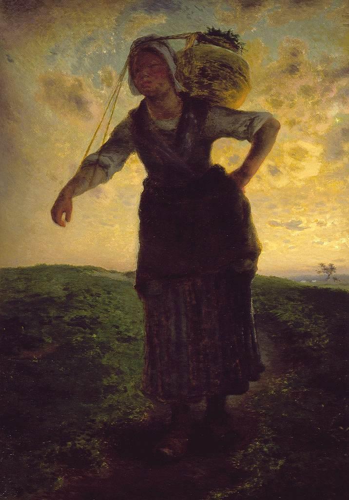 油絵 油彩画 絵画 複製画 ジャン=フランソワ・ミレー グレヴィルの乳しぼりの女 P10サイズ P10号 530x410mm すぐに飾れる豪華額縁付きキャンバス