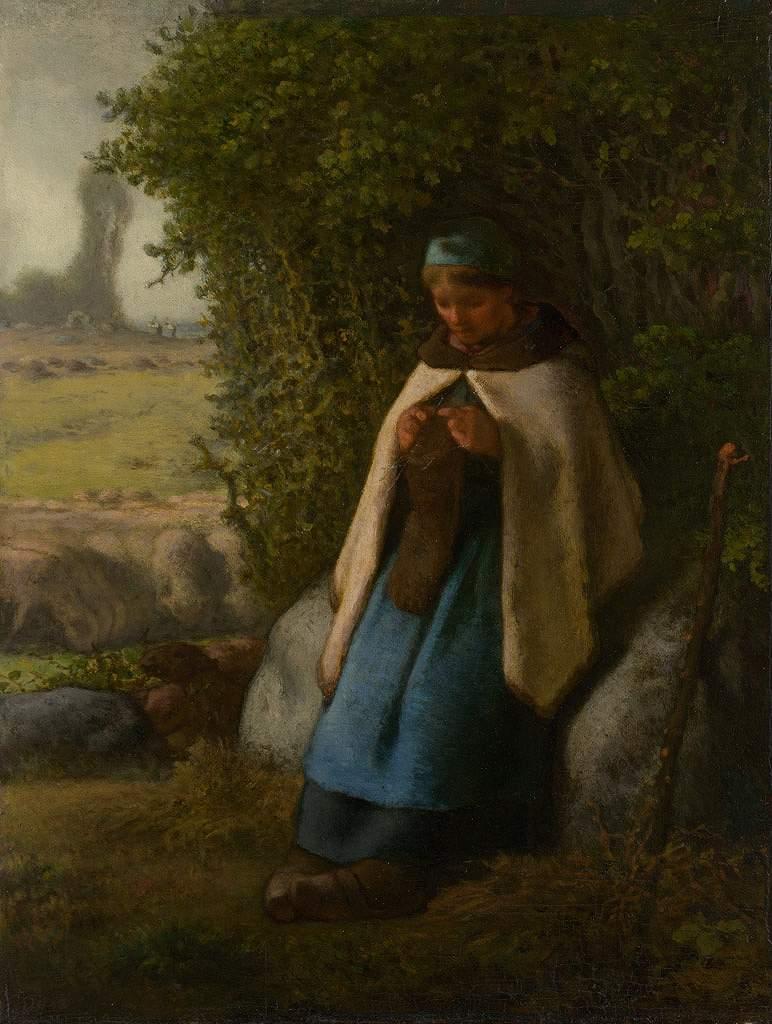 絵画 インテリア 額入り 壁掛け 油絵 ジャン=フランソワ・ミレー 岩の上に座る羊飼い P15サイズ P15号 652x500mm 油彩画 複製画 選べる額縁 選べるサイズ