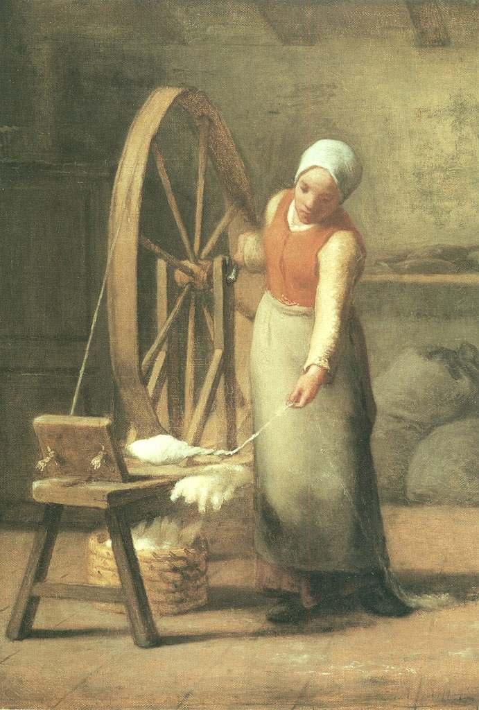 油絵 油彩画 絵画 複製画 ジャン=フランソワ・ミレー 糸を紡ぐ女 P10サイズ P10号 530x410mm すぐに飾れる豪華額縁付きキャンバス