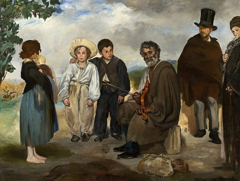 油絵 油彩画 絵画 複製画 エドゥアール・マネ 老人の音楽家 P10サイズ P10号 530x410mm すぐに飾れる豪華額縁付きキャンバス