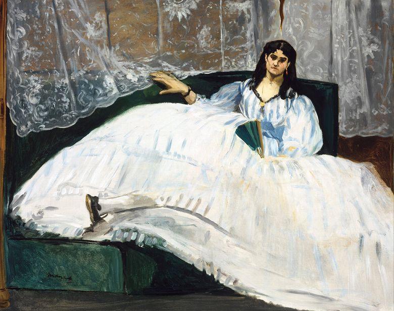 油絵 油彩画 絵画 複製画 エドゥアール・マネ 扇子を持った女性 F10サイズ F10号 530x455mm すぐに飾れる豪華額縁付きキャンバス