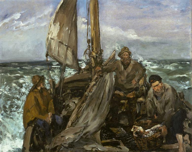 油絵 油彩画 絵画 複製画 エドゥアール・マネ 海での労働者 F10サイズ F10号 530x455mm すぐに飾れる豪華額縁付きキャンバス