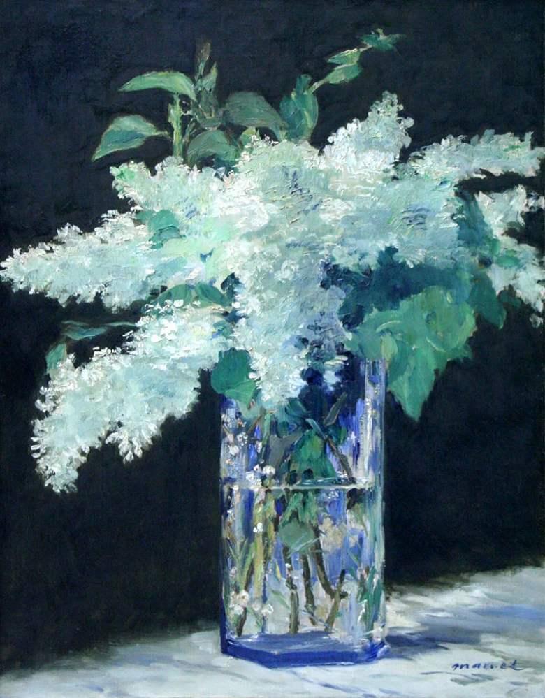 油絵 油彩画 絵画 複製画 エドゥアール・マネ 白いライラック F10サイズ F10号 530x455mm すぐに飾れる豪華額縁付きキャンバス