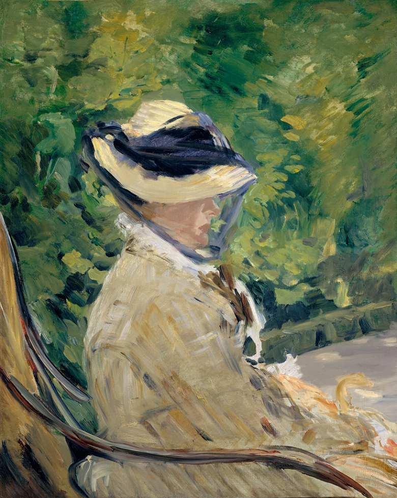 油絵 油彩画 絵画 複製画 エドゥアール・マネ マネ夫人 F10サイズ F10号 530x455mm すぐに飾れる豪華額縁付きキャンバス