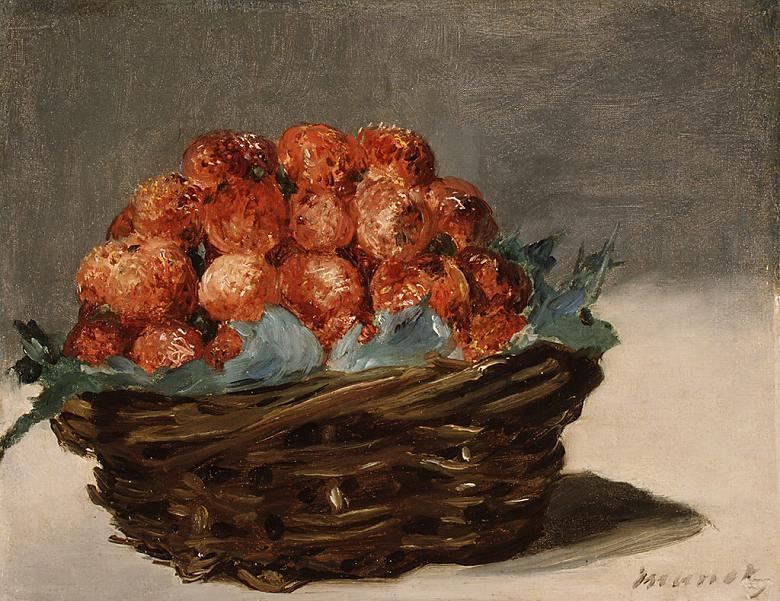 油絵 油彩画 絵画 複製画 エドゥアール・マネ 苺 F10サイズ F10号 530x455mm すぐに飾れる豪華額縁付きキャンバス