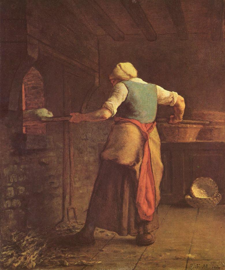 【送料無料】絵画 油彩画複製油絵複製画/ジャン=フランソワ・ミレー パンを焼く女 F8サイズ F8号 455x380mm すぐに飾れる豪華額縁付きキャンバス