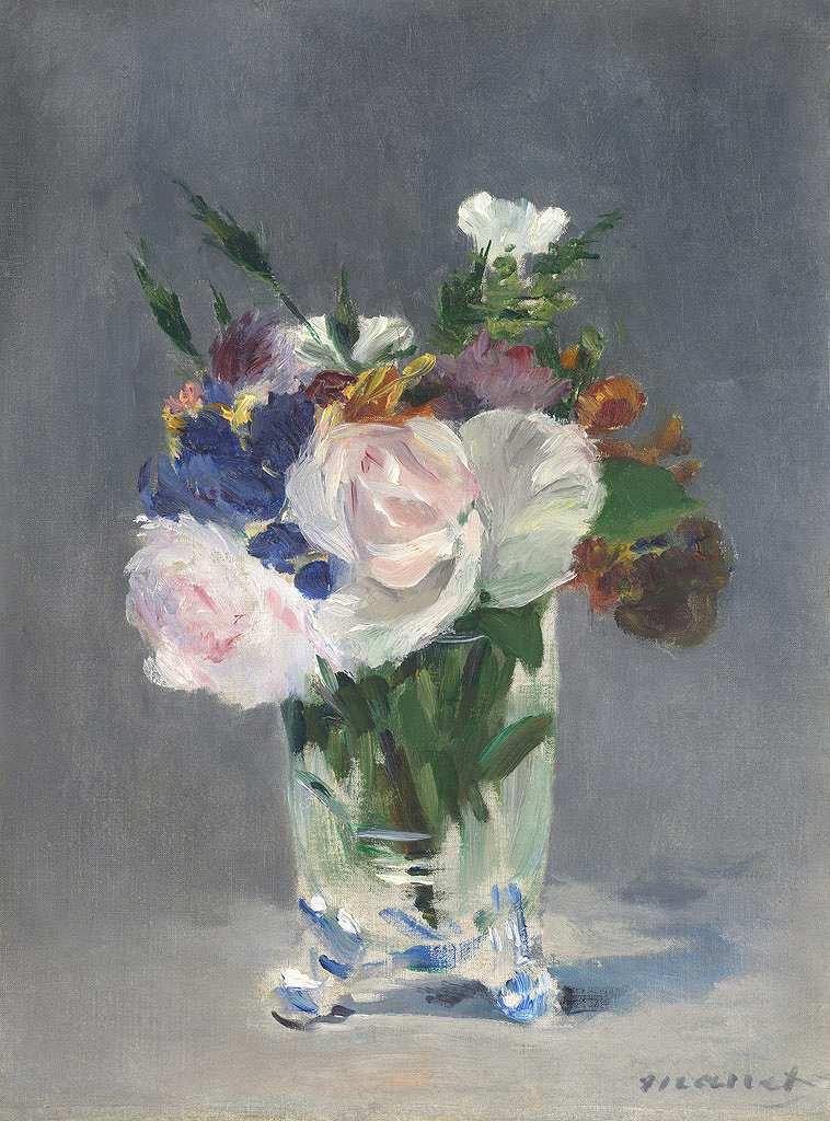 エドゥアール・マネ ガラス花瓶の花 P30サイズ P30号 910x653mm 条件付き送料無料 絵画 インテリア 額入り 壁掛け複製油絵エドゥアール・マネ