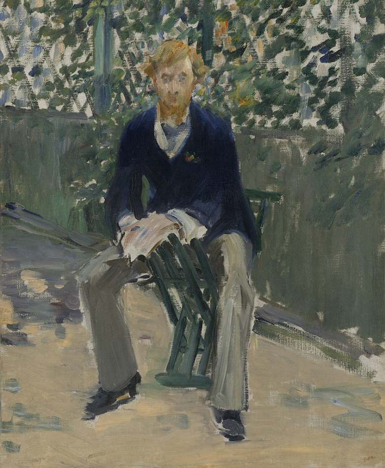 油絵 油彩画 絵画 複製画 エドゥアール・マネ 庭にいるジョージ・ムーア F10サイズ F10号 530x455mm すぐに飾れる豪華額縁付きキャンバス