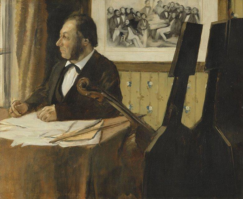 油絵 エドガー・ドガ チェロ奏者ルイ・マリーピルエットの肖像 F12サイズ F12号 606x500mm 油彩画 絵画 複製画 選べる額縁 選べるサイズ