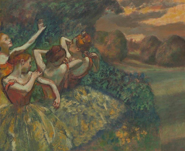 【送料無料】絵画 油彩画複製油絵複製画/エドガー・ドガ 四人のバレリーナ F8サイズ F8号 455x380mm すぐに飾れる豪華額縁付きキャンバス