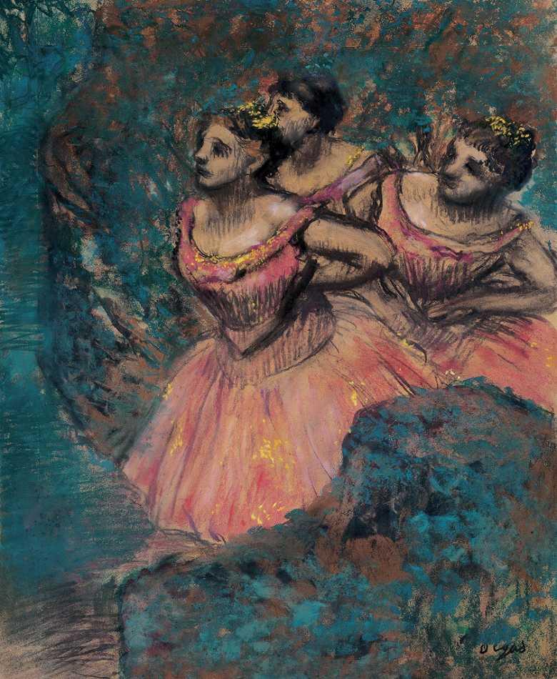 油絵 エドガー・ドガ 赤い衣裳をつけた三人の踊り子 F12サイズ F12号 606x500mm 油彩画 絵画 複製画 選べる額縁 選べるサイズ