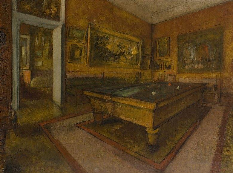 油絵 エドガー・ドガ ビリヤードルーム P12サイズ P12号 606x455mm 油彩画 絵画 複製画 選べる額縁 選べるサイズ