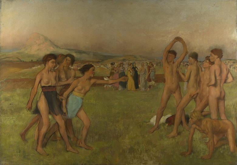 油絵 エドガー・ドガ 少年たちを挑発するスパルタの少女たち P12サイズ P12号 606x455mm 油彩画 絵画 複製画 選べる額縁 選べるサイズ