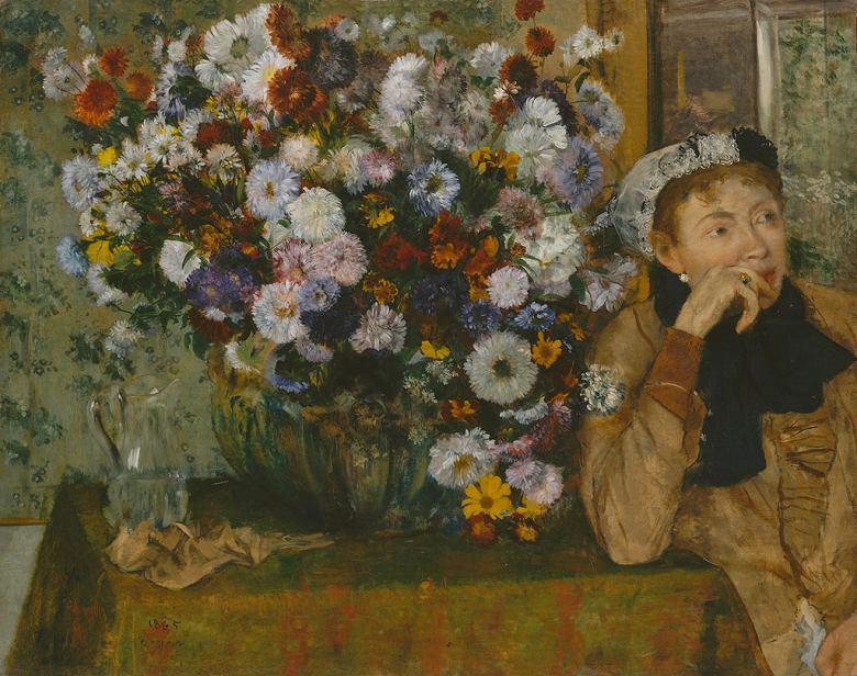 絵画 インテリア 額入り 壁掛け複製油絵エドガー・ドガ 花瓶の花の傍で座っている女性 F15サイズ F15号 652x530mm 油彩画 複製画 選べる額縁 選べるサイズ