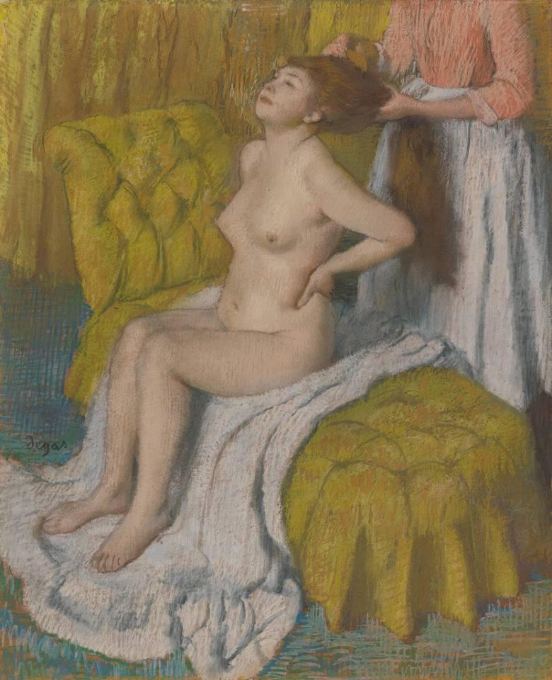 油絵 エドガー・ドガ 髪をすく女性 F12サイズ F12号 606x500mm 油彩画 絵画 複製画 選べる額縁 選べるサイズ