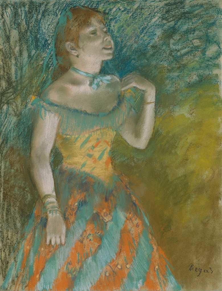 油絵 エドガー・ドガ 緑の衣装の歌手 F12サイズ F12号 606x500mm 油彩画 絵画 複製画 選べる額縁 選べるサイズ