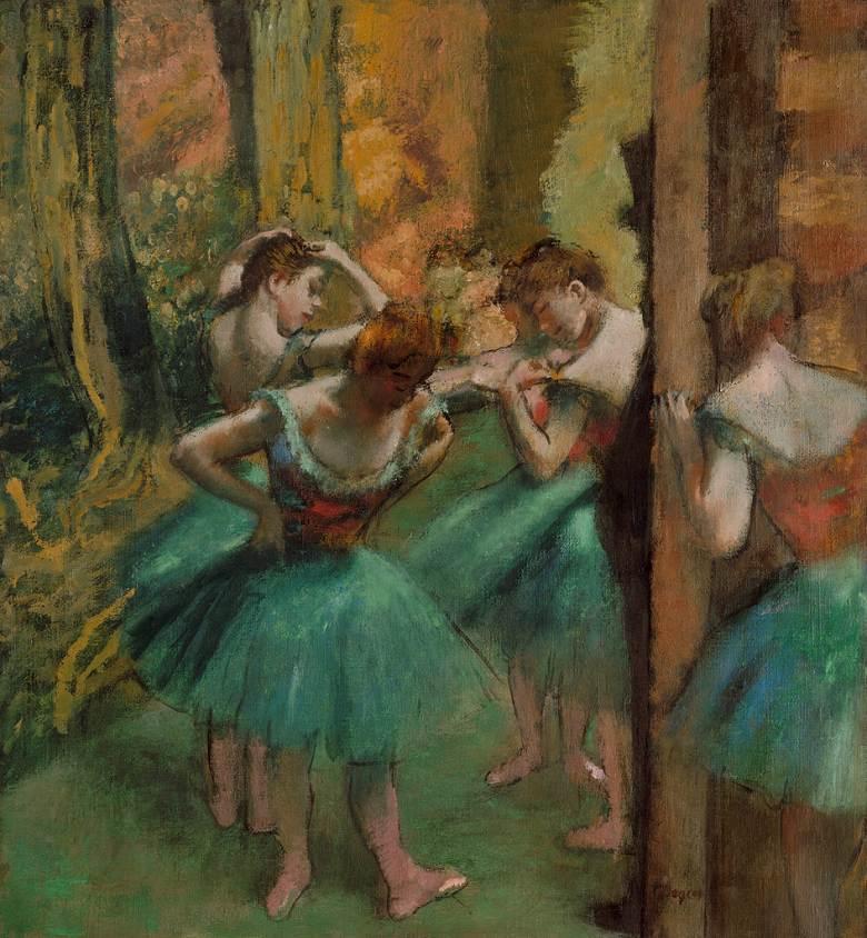 絵画 インテリア 額入り 壁掛け複製油絵エドガー・ドガ ピンク色と緑色の衣装の踊り子 F15サイズ F15号 652x530mm 油彩画 複製画 選べる額縁 選べるサイズ