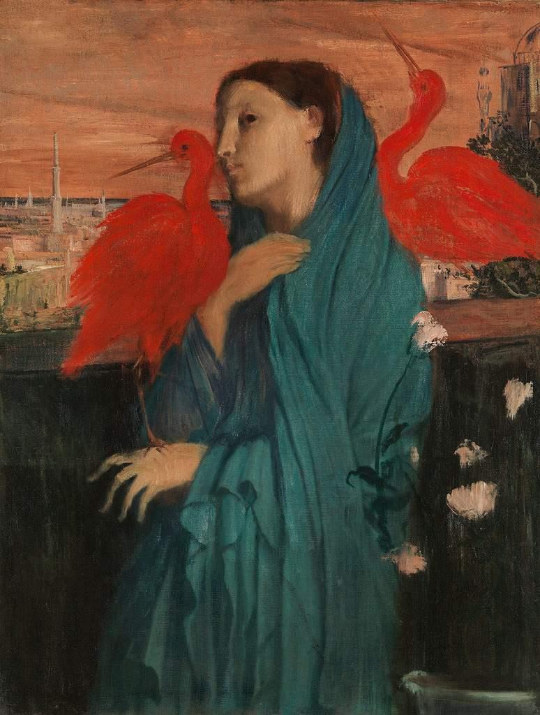 油絵 エドガー・ドガ トキと若い女 P12サイズ P12号 606x455mm 油彩画 絵画 複製画 選べる額縁 選べるサイズ