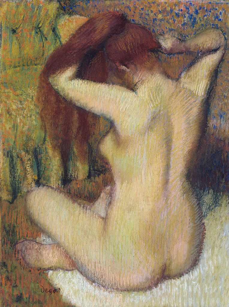 油絵 エドガー・ドガ 髪を梳く婦人 P12サイズ P12号 606x455mm 油彩画 絵画 複製画 選べる額縁 選べるサイズ