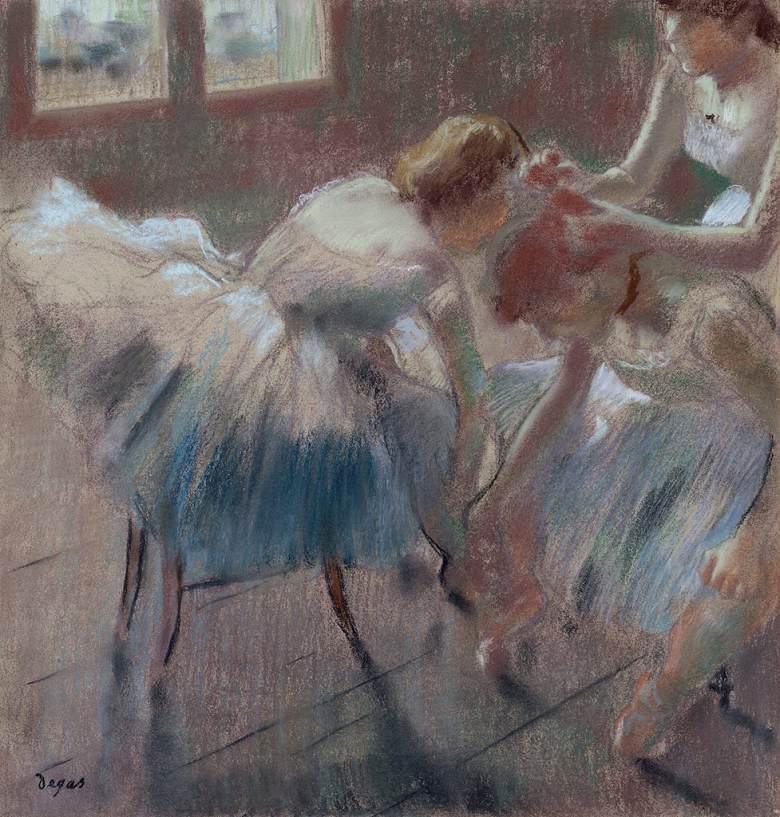 油絵 エドガー・ドガ 準備中の三人の踊り子 F12サイズ F12号 606x500mm 油彩画 絵画 複製画 選べる額縁 選べるサイズ