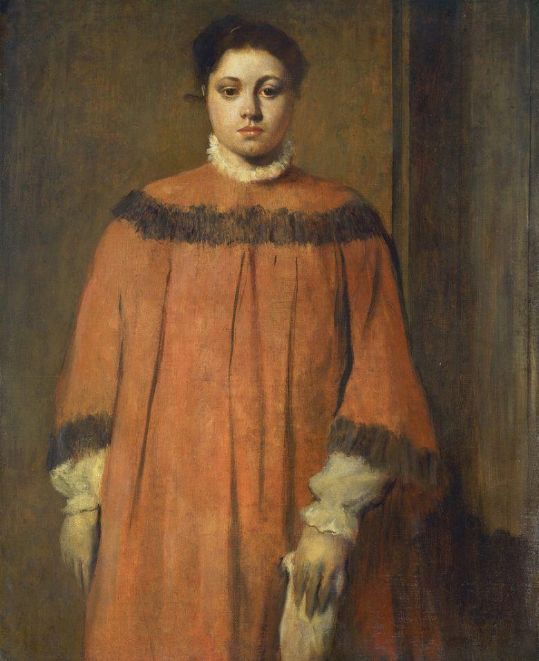 エドガー・ドガ 赤色の衣装の女性 F30サイズ F30号 910x727mm 送料無料  額縁付絵画 インテリア 額入り 壁掛け複製油絵エドガー・ドガ