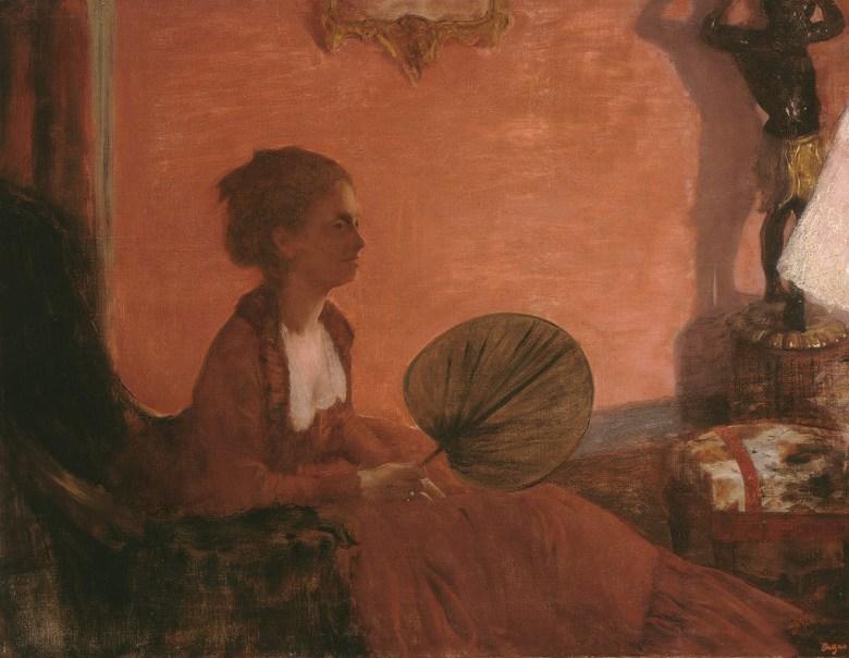 【送料無料】絵画 油彩画複製油絵複製画/エドガー・ドガ 赤い服のカミュ夫人 F8サイズ F8号 455x380mm すぐに飾れる豪華額縁付きキャンバス