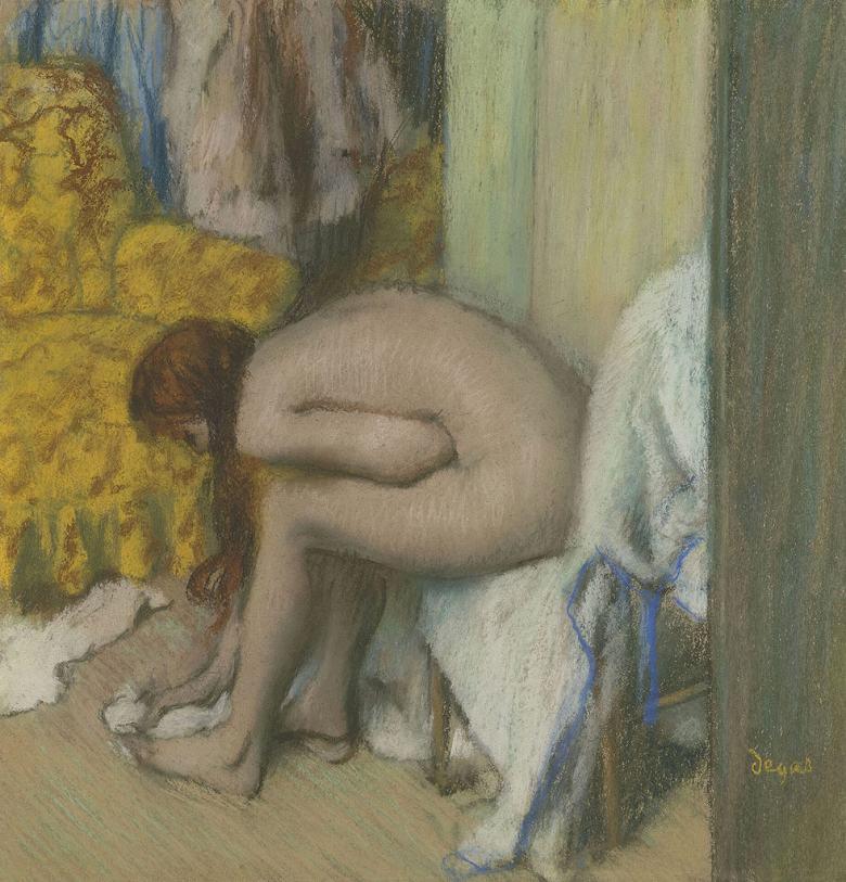 絵画 インテリア 額入り 壁掛け複製油絵エドガー・ドガ 入浴後、足を拭く女性 F15サイズ F15号 652x530mm 油彩画 複製画 選べる額縁 選べるサイズ