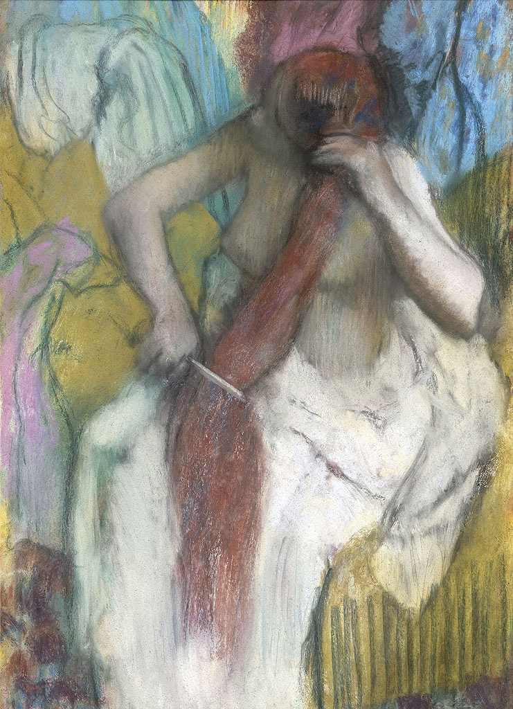 絵画 インテリア 額入り 壁掛け複製油絵エドガー・ドガ 髪をすく女性 P15サイズ P15号 652x500mm 油彩画 複製画 選べる額縁 選べるサイズ