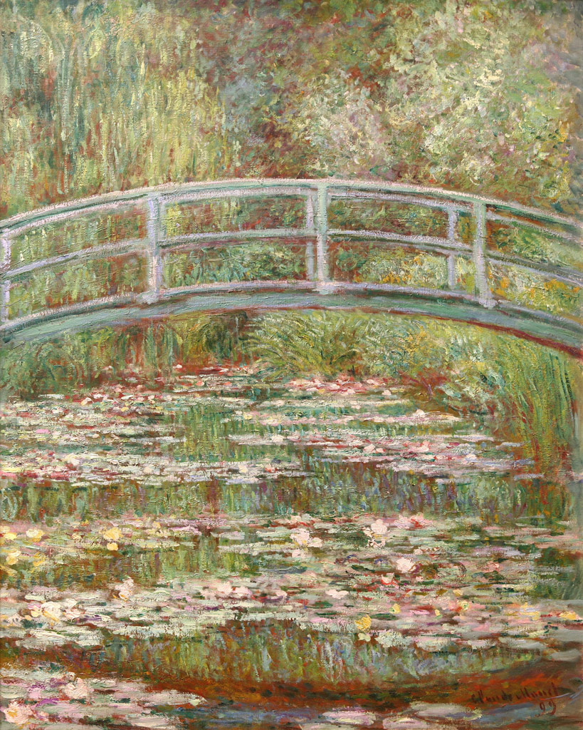 【送料無料】絵画 油彩画 油絵 複製画/クロード・モネ 睡蓮の池に架かる橋 F10サイズ 686x611mm 【すぐに飾れる豪華額縁付 キャンバス】