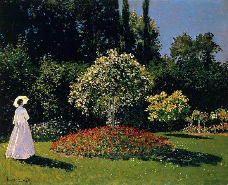 油絵 油彩画 絵画 複製画 クロード・モネ 庭の女性 F10サイズ F10号 530x455mm すぐに飾れる豪華額縁付きキャンバス