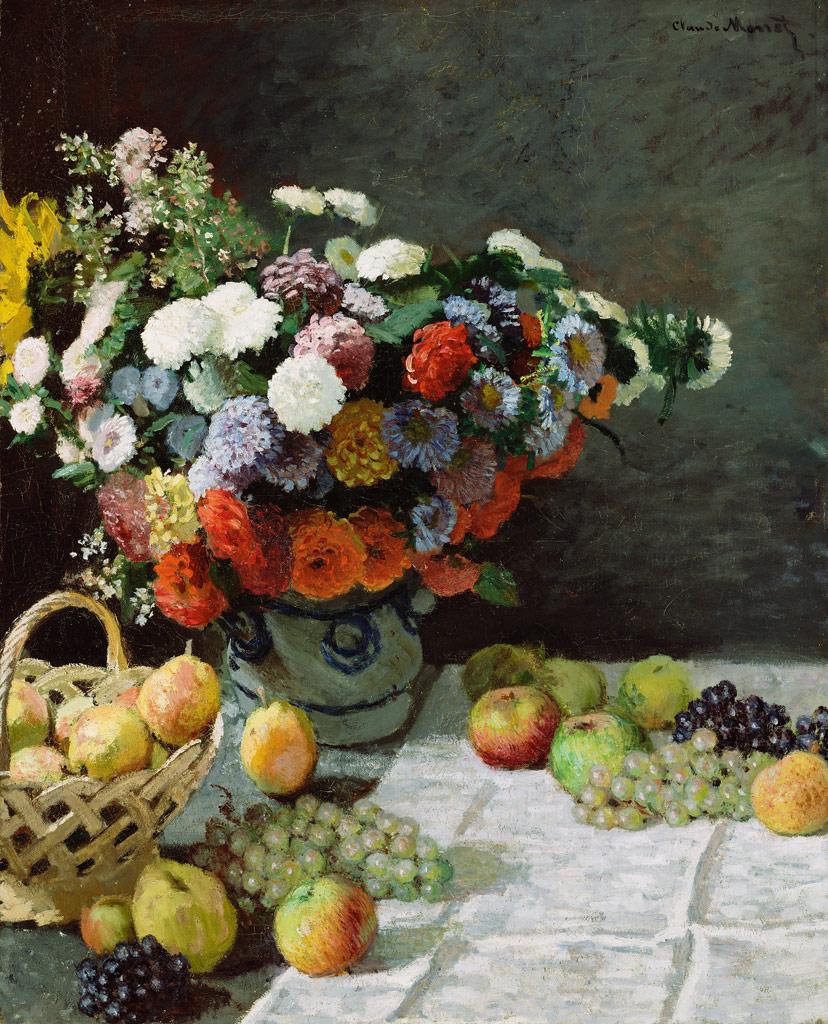 【送料無料】絵画 油彩画複製油絵複製画/クロード・モネ 花と果物のある静物 F10サイズ 686x611mm 【すぐに飾れる豪華額縁付 キャンバス】