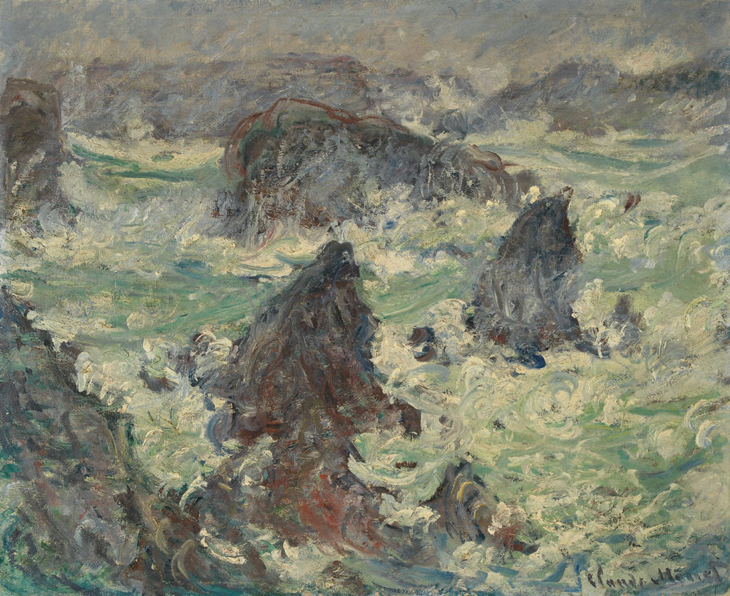 【送料無料】絵画 油彩画複製油絵複製画/クロード・モネ 嵐のベル・イル島の崖 F10サイズ 686x611mm 【すぐに飾れる豪華額縁付 キャンバス】