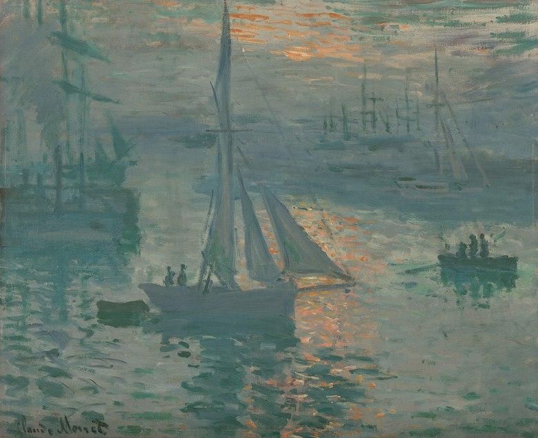 油絵 油彩画 絵画 複製画 クロード・モネ 日の出 F10サイズ F10号 530x455mm すぐに飾れる豪華額縁付きキャンバス
