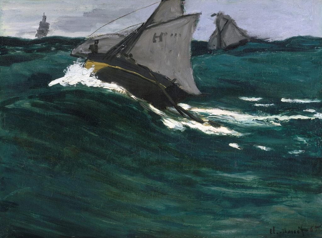 【送料無料】絵画 油彩画 油絵 複製画/クロード・モネ 緑色の波 F10サイズ 686x611mm 【すぐに飾れる豪華額縁付 キャンバス】