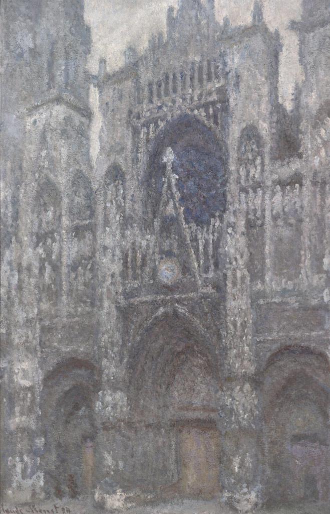 【送料無料】絵画 油彩画複製油絵複製画/クロード・モネ ルーアン大聖堂(曇り) F15サイズ 808x686mm 【すぐに飾れる豪華額縁付 キャンバス】