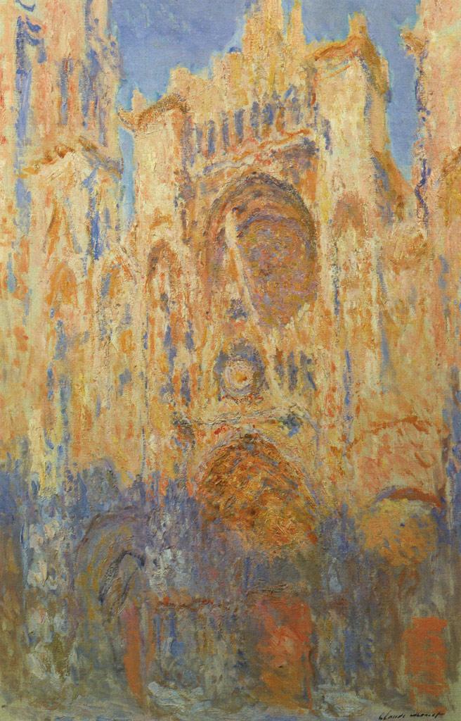 【送料無料】絵画 油彩画複製油絵複製画/クロード・モネ ルーアン大聖堂(夕日) F10サイズ 686x611mm 【すぐに飾れる豪華額縁付 キャンバス】