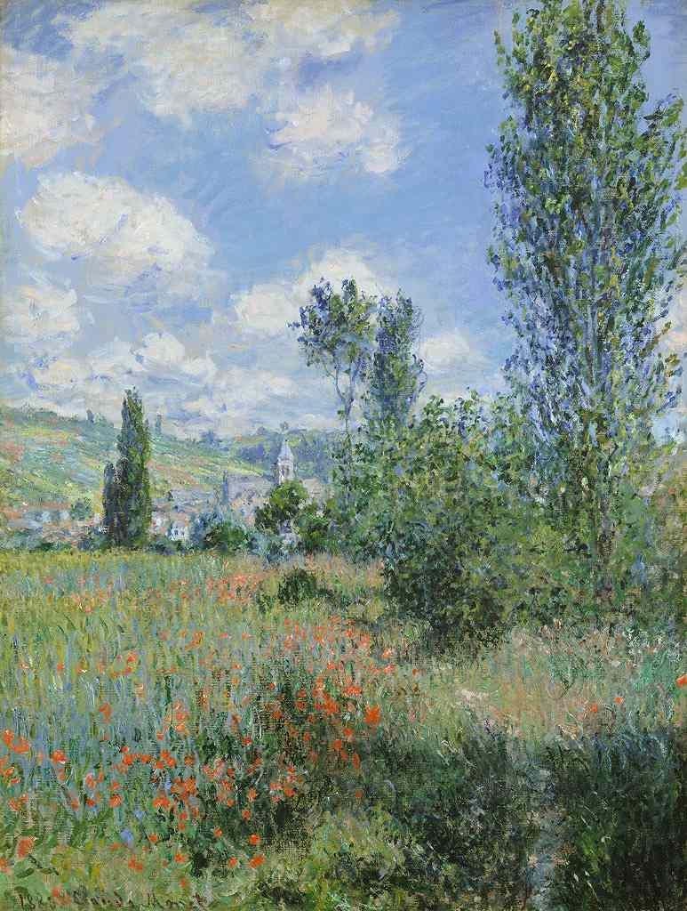 油絵 油彩画 絵画 複製画 クロード・モネ ヴェトゥイユの光景 P10サイズ P10号 530x410mm すぐに飾れる豪華額縁付きキャンバス