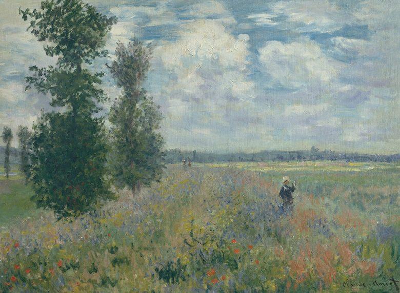 油絵 油彩画 絵画 複製画 クロード・モネ アルジャントゥイユ近くのひなげし畑 P10サイズ P10号 530x410mm すぐに飾れる豪華額縁付きキャンバス