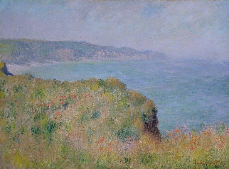 油絵 油彩画 絵画 複製画 クロード・モネ プールヴィルの断崖の上 P10サイズ P10号 530x410mm すぐに飾れる豪華額縁付きキャンバス