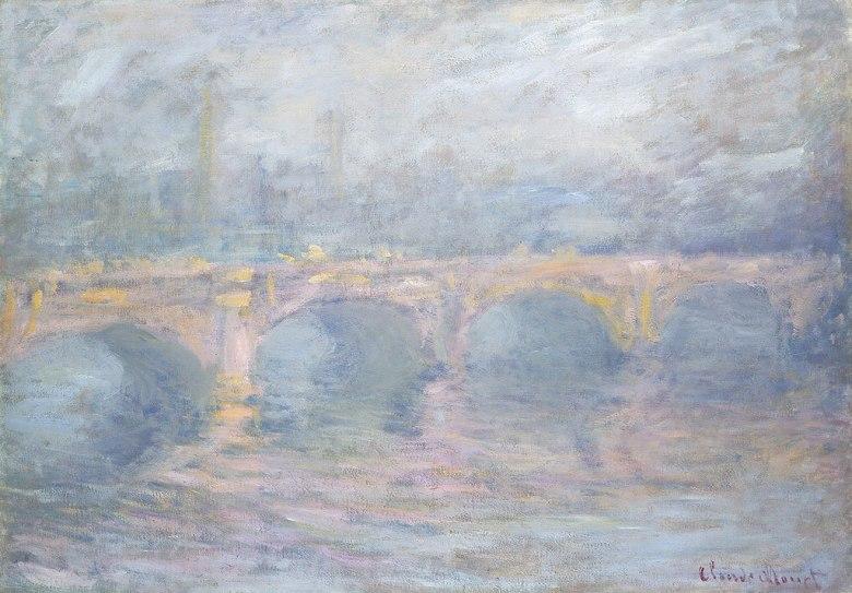 油絵 油彩画 絵画 複製画 クロード・モネ 日暮れのウォータールー橋 P10サイズ P10号 530x410mm すぐに飾れる豪華額縁付きキャンバス