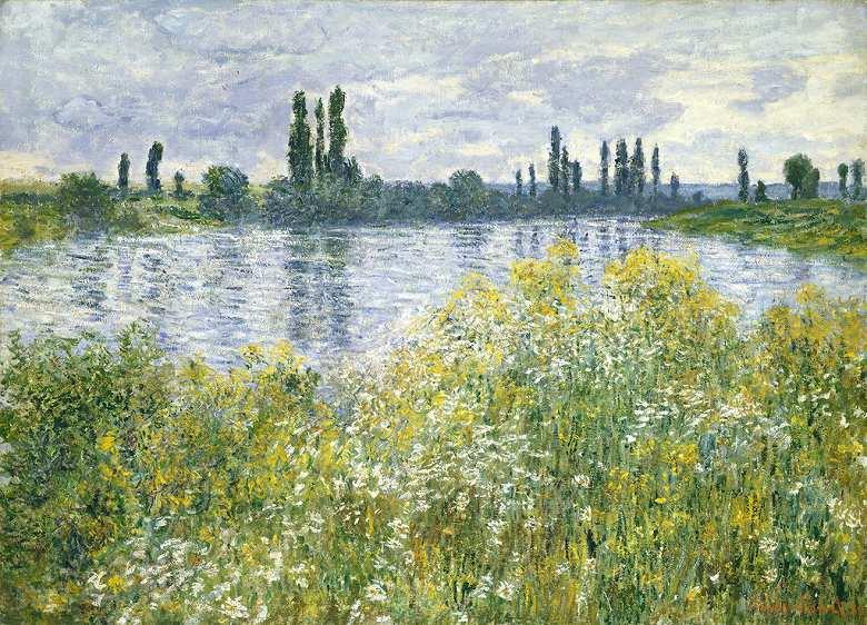 油絵 油彩画 絵画 複製画 クロード・モネ セーヌ川の川岸、ヴェトゥイユ P10サイズ P10号 530x410mm すぐに飾れる豪華額縁付きキャンバス