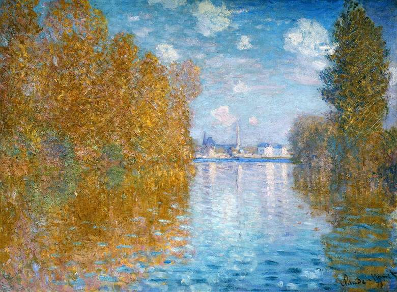 油絵 油彩画 絵画 複製画 クロード・モネ アルジャントゥイユの秋の効果 P10サイズ P10号 530x410mm すぐに飾れる豪華額縁付きキャンバス