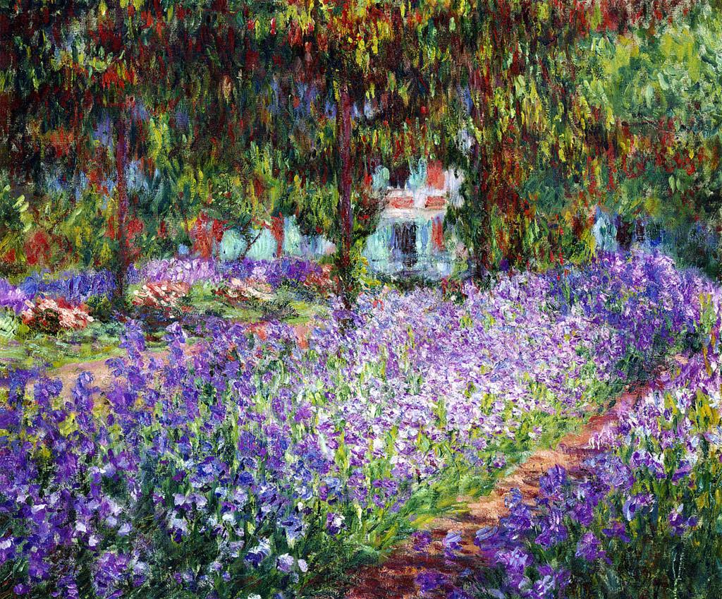 【送料無料】絵画 油彩画複製油絵複製画/クロード・モネ モネの庭のアヤメ F10サイズ 686x611mm 【すぐに飾れる豪華額縁付 キャンバス】
