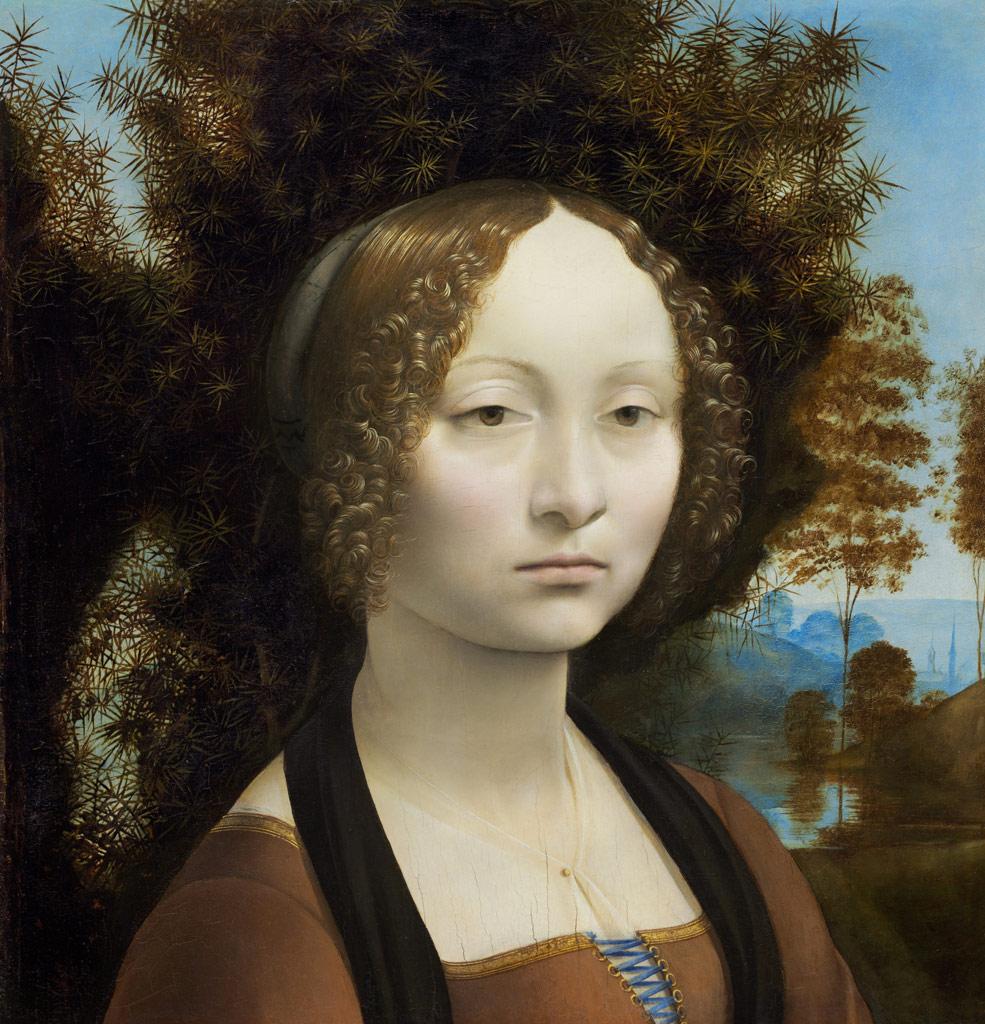 【送料無料】絵画 油彩画複製油絵複製画/ レオナルド・ダ・ヴィンチ ジネーヴラ・デ・ベンチの肖像 F10サイズ 686x611mm 【すぐに飾れる豪華額縁付 キャンバス】