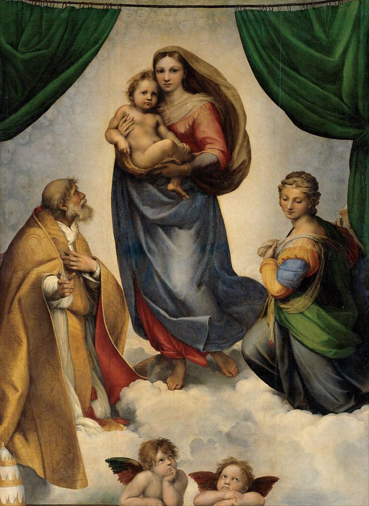 【条件付き送料無料】絵画 油彩画複製油絵複製画/ ラファエロ・サンティ システィーナの聖母 F30サイズ 1066x883mm 【すぐに飾れる豪華額縁付 キャンバス】