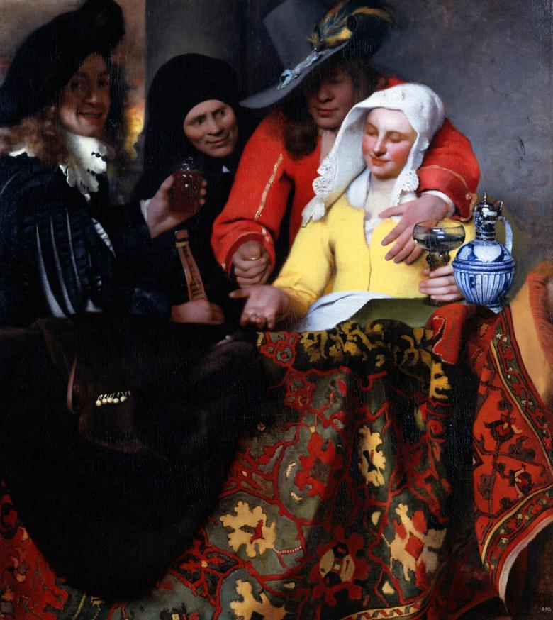 油絵 油彩画 絵画 複製画 ヨハネス・フェルメール 取り持ち女 F10サイズ F10号 530x455mm すぐに飾れる豪華額縁付きキャンバス